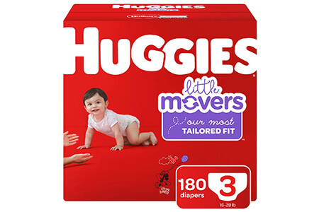 Huggies Little Movers Diapers, Size 3 (16-28 lbs.), 180 ct.
