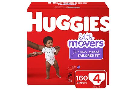 Huggies Little Movers Diapers, Size 4 (22-37 lbs.), 160 ct.