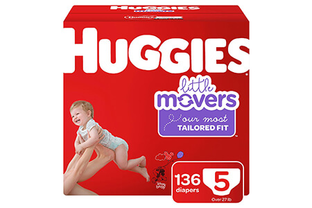Huggies Little Movers Diapers, Size 5 (27+ lbs.), 136 ct.