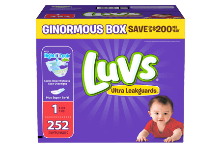 Luvs Ultra Leakguard Diapers, Size 1 (8-14 lbs.), 252 ct.