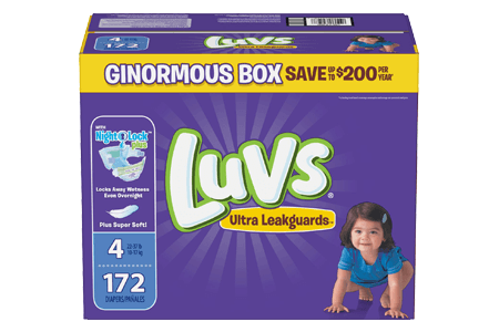 Luvs Ultra Leakguard Diapers, Size 4 (22-37 lbs.), 172 ct.