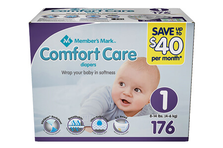 Member's Mark Comfort Care Baby Diapers, Size 1 (8-14 lbs.), 176 ct.