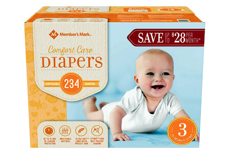Member's Mark Comfort Care Baby Diapers, Size 3 (16-28 lbs.), 234 ct.
