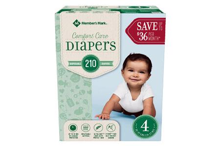 Member's Mark Comfort Care Baby Diapers, Size 4 (22-37 lbs.), 210 ct.