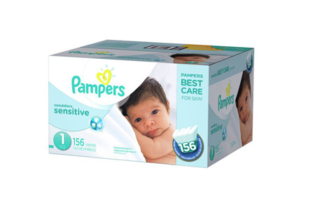 Pampers Swaddlers Sensitive Diapers, Size 1 (8-14 lbs.), 156 ct.