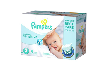 Pampers Swaddlers Sensitive Diapers, Size 2 (12-18 lbs.), 132 ct.