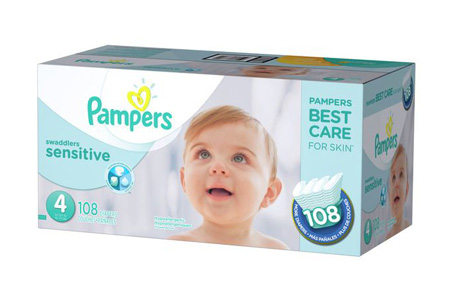 Pampers Swaddlers Sensitive Diapers, Size 4 (22-37 lbs.), 108 ct.